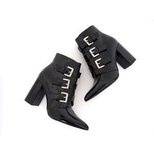 Forever 21 Patent Leather Black Buckle Boots NWOT